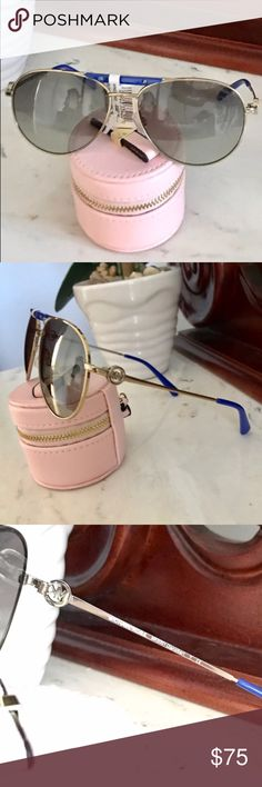 🆑🎁 Gift Idea! Michael Kors Aviators 🎁 NWT blue and gold Tone authentic MK aviator sunglasses purchased at Saks. They did not come with a case but will be carefully packed. 😎 *Open to REASONABLE offers (reasonable is not half of asking price) please remember Posh takes 20%* Michael Kors Accessories Sunglasses