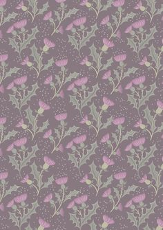 Glen Thistle on Warm Grey Fabric - beautiful fabric by British designers Lewis and Irene Designer Fabrics Online, Fabric Online, Gray Background, Paper Background, Grey Fabric, Floral Fabric, Thistle Flower, Cotton Quilting Fabric, Patchwork Quilting