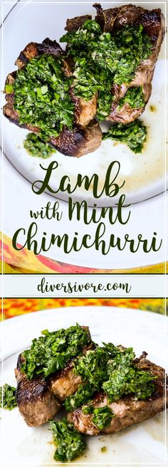 Lamb Loin Chops with Mint Chimichurri Lamb Chops with a simple Mint Chimichurri sauce - perfect for changing up your grilling game Lamb Loin Chops, Grilled Lamb Chops, Mint Recipes, Sauce Recipes, Sweet Recipes, Chimichurri, Healthy Cooking, Cooking Recipes, Healthy Recipes