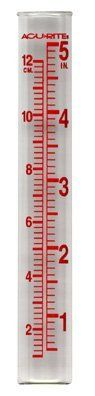 Rain Gauge Tubes For Making Your Own Rain Gauge (6 Guages) by Acu-Rite. $18.30. Measures rainfall or monitors watering. Measures in inches or centimeters. Easy to read markings. Variety of mounting options. Tube removable from base for winter storage. Made of sturdy glass with large red numerals, this easy-to-read gauge measures rainfall or allows you to monitor gardening water to give you an accurate reading in inches or centimeters of water accumulation. Its...