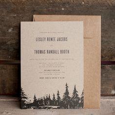 Rustic Wedding Invitations - The Oatlands - Vintage, Kraft, woodcut, woodland wedding, kraft paper, Invitation, RSVP cards, eco friendly