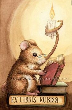 $9.95 - Mouse Reading Vintage Bookplate Counted Cross Stitch Pattern #ebay #Home & Garden