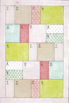 Easy quilt pattern for when i finally get round to upholstering a chair with patchwork Quilting Tips, Quilting Tutorials, Quilting Projects, Quilting Designs, Sewing Projects, Quilting Patterns, Sewing Patterns, Quilt Design, Patchwork Patterns
