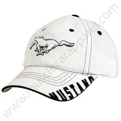 White Ford Mustang Hat with large running horse embroidered in white with black stitching around the horse on the front. The bill has Mustang embroidered on the right side in black bold fonts. Mustang Logo, 67 Mustang, Mustang Girl, Race Car Jackets, Pony Rides, Running Horses, Love Hat, Men S Shoes, Everyday Fashion