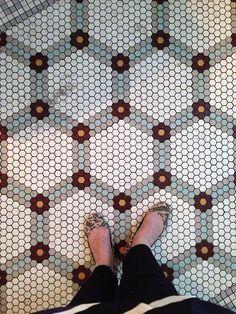 Bath Room Tiles Hexagon Design Studios 38 Ideas For 2019 Hex Tile, Penny Tile, Ceramic Floor Tiles, Hexagon Tiles, Hexagon Pattern, Bathroom Floor Tiles, Tiling, Honeycomb Tile, Hexagon Mosaic Tile