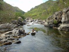 typical rocky shores and surrounding tropical  dry forest at Rio Grande, Cocle, Panama