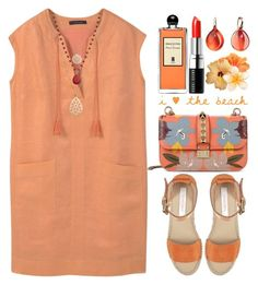 """Pastel Orange"" by grozdana-v ❤ liked on Polyvore featuring See by Chloé, Valentino, Violeta by Mango, Serge Lutens, Bobbi Brown Cosmetics, Pomellato and Chaps"