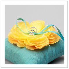 yellow flower on teal silk dupioni wedding ring pillow. Diy Wedding, Dream Wedding, Wedding Day, Wedding Rings, Ring Bearer Pillows, Ring Pillows, Teal Yellow, Yellow Flowers, Aqua