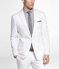 Express Mens White Cotton Sateen Photographer Suit Jacket White, 40R