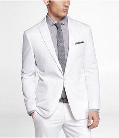 Express Mens White Cotton Sateen Photographer Suit Jacket White, 40R