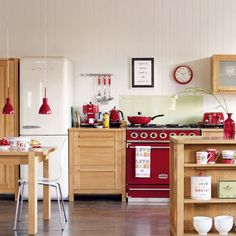 Few colors make as dramatic a statement as red kitchen accessories. Red kitchen accessories go with just about any color of kitchen appliances really well. Red Kitchen Accents, Red Kitchen Decor, Kitchen Colors, New Kitchen, Vintage Kitchen, Red Accents, Kitchen Ideas, Kitchen Designs, Beech Kitchen