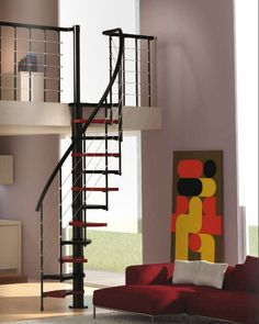 small spiral stairs - change the colors but like how small & narrow this staircase is