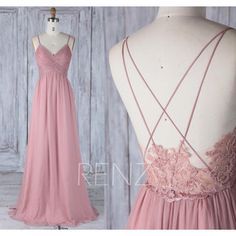 2017 Dusty Rose Bridesmaid Dress, V Neck Wedding Dress,Spaghetti Straps Prom Dress,Low Lace Illusion Back Evening Gown Floor Length(H497)