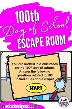 Looking for fun 100 days of school activities? Try this exciting digital 100th day of school Boom Cards escape room! Your students will find themselves having to escape a classroom on the hundredth day of school. They must go through four different areas in the classroom and click on objects in each area to find clues. They must answer multiple-choice questions related to 100 correctly in order to see if the object has a letter for the special word. Click to learn more! #jewelschoolgems