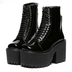 WANT or NEED?  Get this Gothic Punk Lace Up Platform Boots at rockndollstore.com! ✈ FREE SHIPPING Worldwide ✈