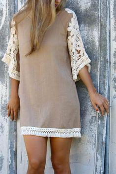 Sunsets in Savannah Taupe Shift Dress With Crochet Shoulders & Tassel Fringe Trim