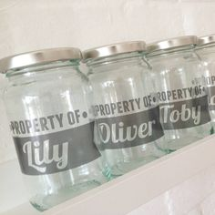 A+personalised+labelled+glass+jam+jar+makes+a+retro+storage+solution+for+anything!+£6.50