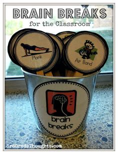 A cute and easy way to do brain breaks. Anytime I think one is necessary in my classroom I would have a student come up and draw from the cup blindly and whichever activity they draw the whole class will do. All these ideas are real simple and provide as a quick break to help refocus my students.