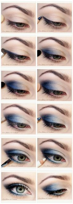 Blue Smoky Eye Tutorial - #eyes #eyeshadow #smokey #smoky #makeup #beauty #cosmetics #howto #tutorial www.pampadour.com