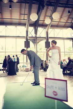 Mini golf at the couple's wedding reception! What a fun idea. Photo by Roee. #minneapolisweddingphotographers #minneapolisdepot #minneapolisdepotweddings #minigolf