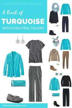 Capsule Wardrobe Color Palette - A Touch of Turquoise, with Six Neutrals - The Vivienne Files Capsule Wardrobe, Capsule Outfits, Fashion Capsule, Travel Wardrobe, Look Fashion, Fashion Outfits, Fashion Trends, Turquoise Clothes, The Vivienne