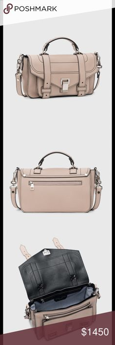 """Proenza Schouler PSI Medium Sand Gorgeous PSI+ created using grainy calf leather that is soft yet structured to hold the shape of the bag. It has five interior compartments and is lined in a durable cotton canvas. The PS1+ features silver hardware with volume and shine, including an updated clasp with screw details.The PS1+ has an adjustable removable shoulder strap so the bag can be carried as a top handle, worn on the shoulder, or worn cross body. Length: 12"""" Width: 5.5"""" Height: 8"""" Strap…"""