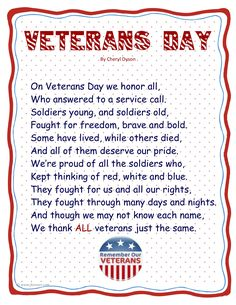 Veterans Day poem - Classroom, teacher, school www.operationwearehere.com/veteransday.html