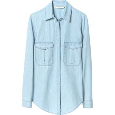 Zara Bleached Chambray Shirt ($60) ❤ liked on Polyvore