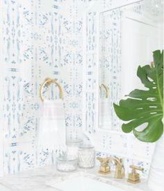Corfu Blue wallpaper by artist Jennifer Latimer. Removable and so beautiful! Zen Bathroom, Bathroom Wallpaper, Of Wallpaper, Modern Bathroom, Small Bathroom, Master Bathroom, Kid Bathrooms, Blue And White Wallpaper, Bling Bathroom