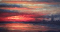 Sunset on fire over the Thames. Detail of Oil on Canvas by Nial Adams. Inspired by J.M.W.Turner