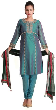 Old blue tucked chanderi silk kurta - SUITS - WOMEN'S WEAR