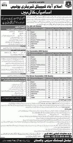 Govt of Pakistan Islamabad Capital Territory Police Jobs 2015