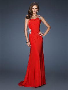 Sheath/Column One Shoulder Elastic Woven Satin Floor-length Sleeveless Beading Evening Dresses at Msdressy
