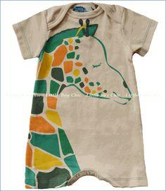 Gnu by Lemon Loves Lime, G For Giraffe Romper in Bleached Sand