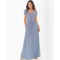 Soma Cross Front Maxi Dress ($89) ❤ liked on Polyvore featuring dresses, medallion, tile medallion, long v neck dress, long dresses, white maxi dress, long maxi dresses and v neck maxi dress