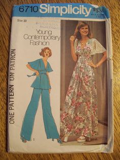 VINTAGE Sewing Pattern - UNCUT 1970s Pretty Dress or Top with Flutter Sleeves - Size 10 - Simplicity 6710. $5.00, via Etsy.