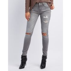 Refuge Skin Tight Legging Destroyed Jeans ($33) ❤ liked on Polyvore featuring jeans, charcoal, torn jeans, mid rise skinny jeans, refuge jeans, faded skinny jeans and distressed skinny jeans