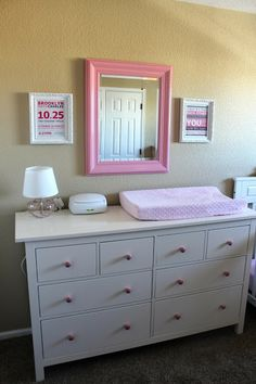 Baby Girl Nursery  www.themilehighmom.com-- such a cute mirror.  Could upcycle an old mirror from a thrift store or goodwill