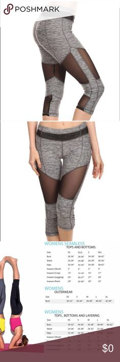 HOLIDAY SALEColor block mesh Capri legging ON SALE FOR DECEMBER ONLYColor blocking Capri with mesh along the front and back! 87% Polyester, 13% Elastane. MSRP: $95.00 great gift idea for the holidays or for yourself ! Don't hesitate to like this because these sell out fast. Any questions can be addressed bellow. I can make you a separate listing. On sale from $75 usual price in my closet. Electric Yoga Pants Capris