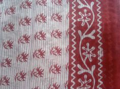 Block Print Fabric Indian Flowers Leaves Cotton Red Off by RaajMa