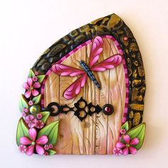 Pink Dragonfly Fairy Door Pixie Portal by Claybykim on Etsy