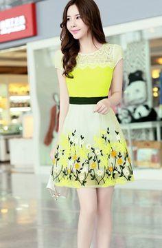 Flower printed chiffon summer dress with lace neckline YRB0782 #yellow #yellowdress #printeddress