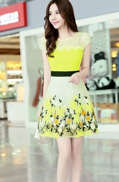 Flower printed chiffon summer dress with lace neckline YRB0782 #yellow #yellowdress #printeddress