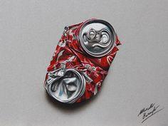 Marcello Barenghi - Des Dessins plus Vrais que Nature - Canette de Coca écrasée