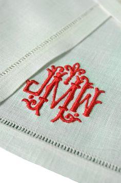 in LOVE with this RED heavy monogram on gorgeous linen cocktail napkins #entertaining...it's what we do in #charleston.
