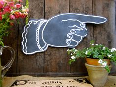 Chalkboard Pointing Finger Wall Hanging  Hand by CityandSeaVintage, $58.00