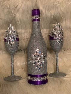 Excited to share this item from my shop: Champagne Glass and Bottle Set Set, Royal Purple, SIlver Bling and Purple Alcohol Bottle Decorations, Liquor Bottle Crafts, Glass Bottle Crafts, Wine Bottle Art, Diy Bottle, Bottle Centerpieces, Decorated Liquor Bottles, Decorated Wine Glasses, Painted Wine Bottles