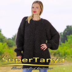 Black turtleneck hand knitted ribbed pattern crew neck mohair sweater by SuperTanya