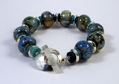 Waterfall Lampwork Glass Bead Bracelet SRA by paintboxcrafts