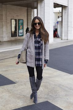 Arielle Nachmani always dresses so cute - love the plaid shirt and suede boots.